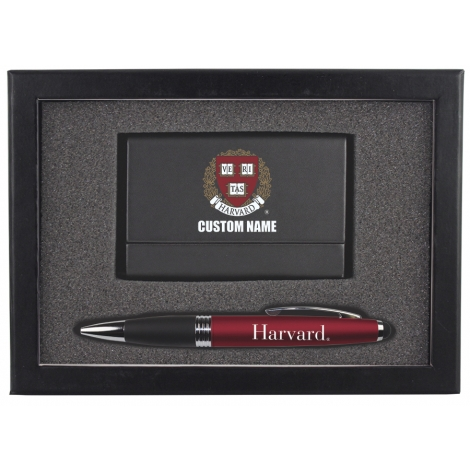 Personalized Harvard Business Card Case & Pen Set