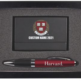 Personalized 2021 Harvard Business Card Case & Pen Set
