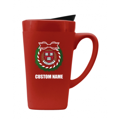 Personalized Harvard Holiday Wreath Ceramic Mug
