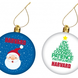 Harvard Santa and Tree Set of 2 Ornaments
