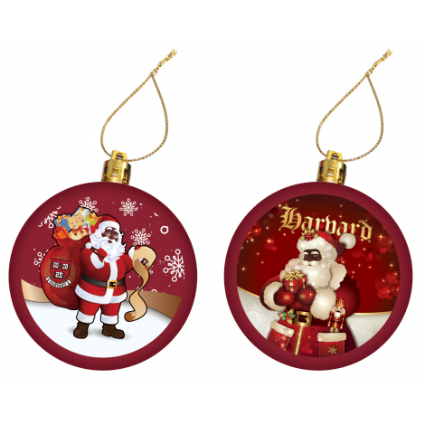 Harvard Set of 2 Santa Ornaments