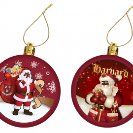 Harvard Set of 2 Santa Ornaments