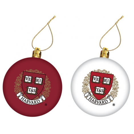 Harvard Seal Maroon and White Set of 2 Ornaments