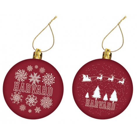 Harvard Set of 2 Maroon Ornament Set