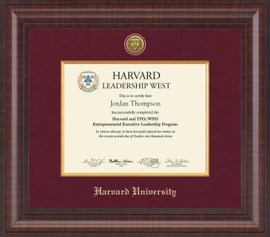 Harvard Vertical or Horizontal Presidential Gold Engraved Certificate Frame in Premier with Maroon Linen Mat