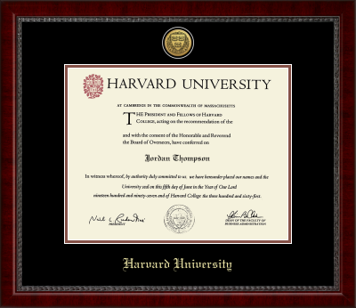 Harvard Gold Engraved Medallion Diploma Frame in Sutton with Black/Auburn Mats