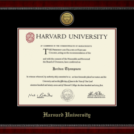 Harvard Gold Engraved Medallion Diploma Frame in Sutton with Black/Auburn Mats