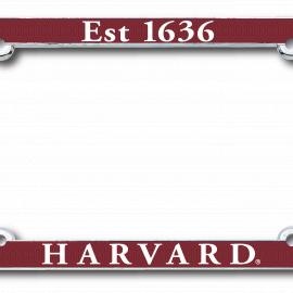 Harvard Est. 1636 Maroon License Plate Frame