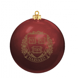 Harvard Glass Ball Ornament With Gold Harvard Seal