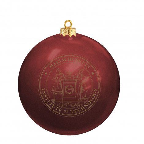 MIT Glass Ball Ornament With Gold MIT Seal
