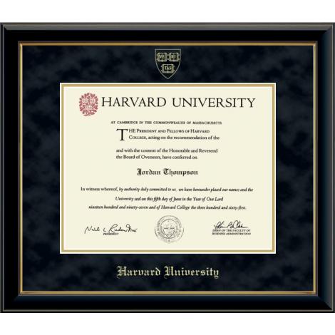 Harvard Gold Embossed Diploma Frame in Onyx Gold