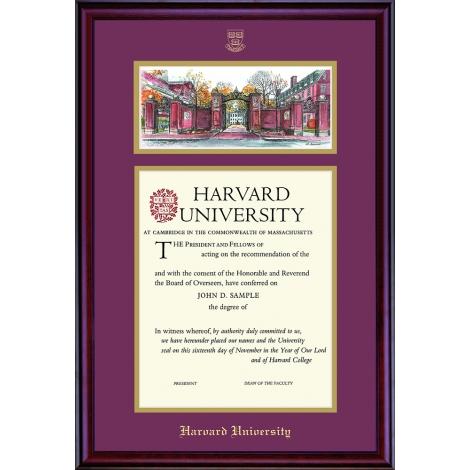 Harvard Undergraduate or Graduate Lithograph Diploma Frame