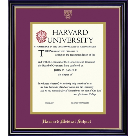 Harvard University Embossed Diploma Frame