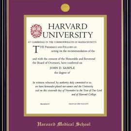 Harvard Medallion Undergrad or Grad Diploma Frame