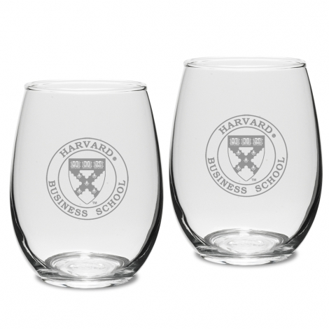 Harvard Business School (Set of 2) Engraved Crystal Stemless Wine Glass
