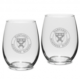 Harvard Business School Set of 2 Engraved Crystal Stemless Wine Glass