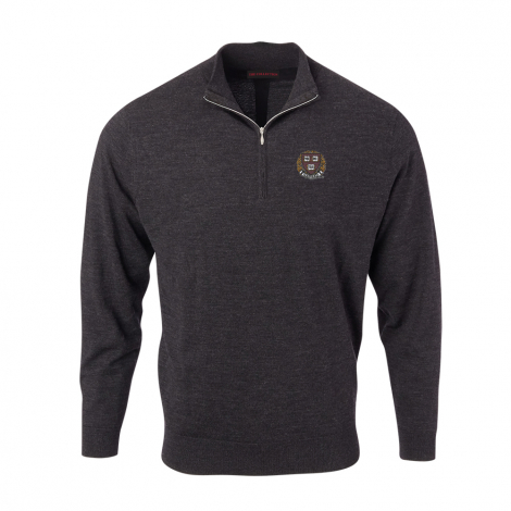 Harvard Men's Solid Merino 1/4 Zip Pullover
