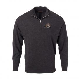Harvard Men's Solid Merino 1/4 Zip Sweater