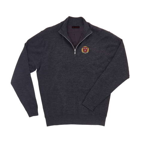 Harvard Men's Solid Merino 1/4 Zip Sweater