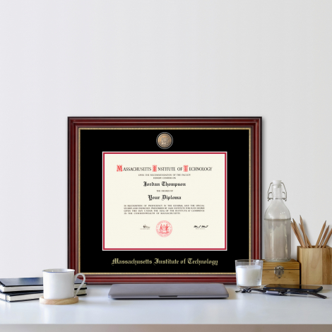 MIT Masterpiece Medallion Diploma Frame in Kensington Gold with Black/Red Mats