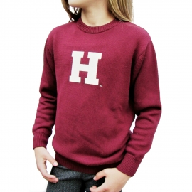 Youth Harvard Maroon Cotton Crewneck Sweater