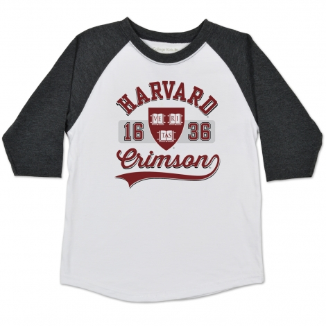 Harvard Home Run Raglan Toddler Tee