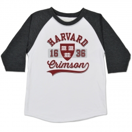 Harvard Home Run Raglan White w/ Black Heather Toddler Jersey