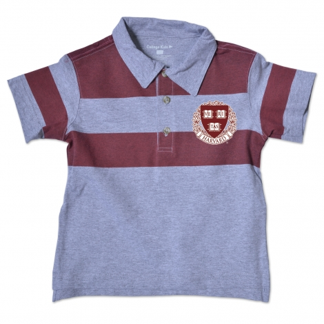 Harvard Halfback Grey w/ Maroon Stripes Toddler Polo