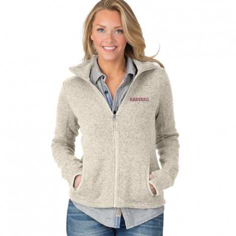 Women's Harvard Oatmeal Heathered Fleece Full Zip Jacket