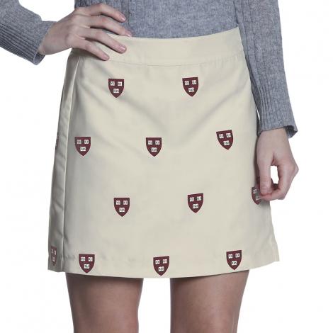 Harvard Game Changer Zip Khaki Veritas Shield Skirt