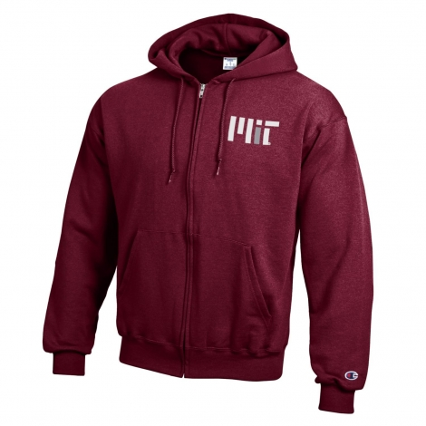 MIT Maroon Full Zip Hooded Sweatshirt