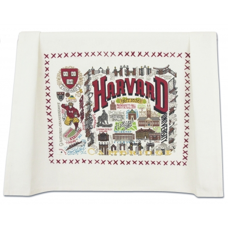 Harvard Embroidered Tea Towel