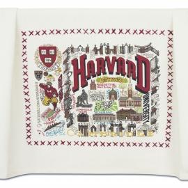 Harvard Embroidered Tea Towel