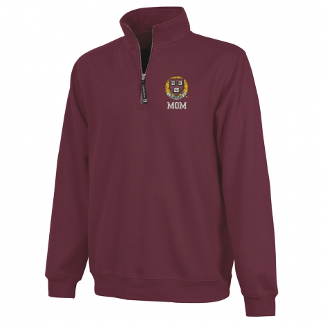Harvard Maroon 1/4 Zip Crosswind Mom Sweatshirt
