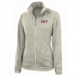 MIT Women's Oatmeal Heathered Fleece Full Zip Jacket