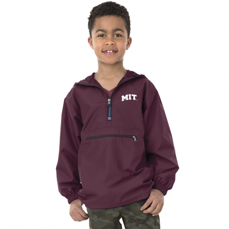 Youth MIT Maroon Pack and Go Pullover jacket