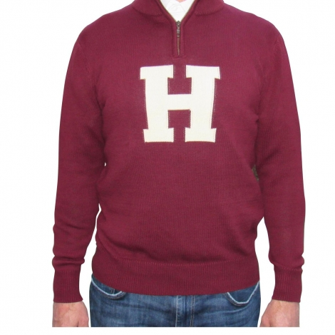 Harvard Maroon Cotton 1/4 Zip Sweater