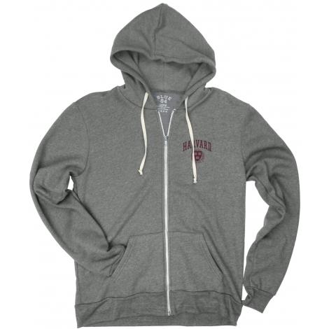 Harvard Blue 84 Tri-Blend Full-Zip Hooded Sweatshirt
