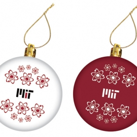 MIT Atom  Maroon and White Set of 2 Ornaments