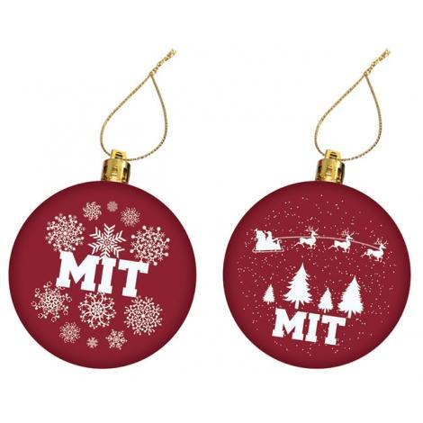 MIT Set of 2 Maroon Ornament Set