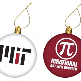 MIT Irrational  Maroon and White Set of 2 Ornaments