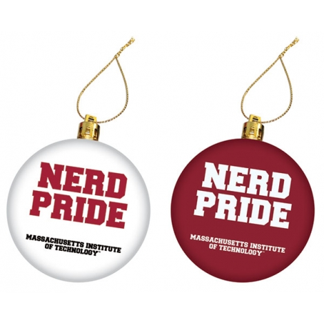 MIT Nerd Pride Maroon/White Ornament Set
