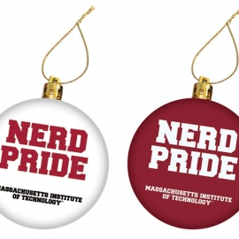 MIT Nerd Pride Maroon and White Set of 2 Ornaments