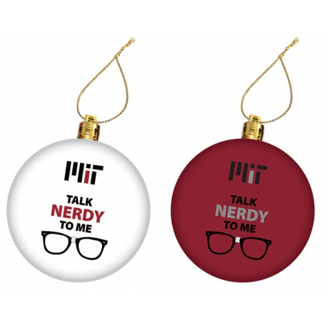 MIT Talk Nerdy To Me Maroon and White Set of 2 Ornaments
