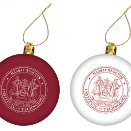 MIT Seal Maroon and White Set of 2 Ornaments
