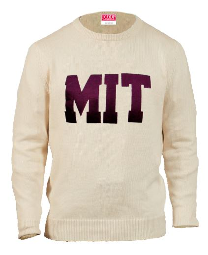 MIT Cream Crew Neck Applique Sweater
