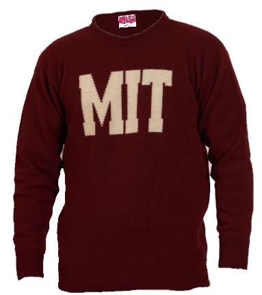 MIT Maroon Lambswool Crew Neck Sweater