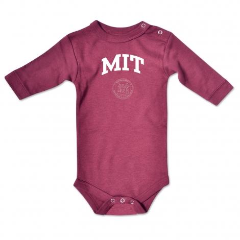 MIT Infant Maroon Long Sleeve Bodysuit