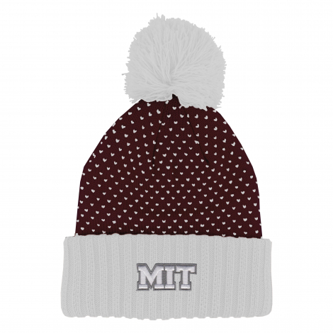 MIT Cuff Beanie with Knit Dot Pattern and Pom