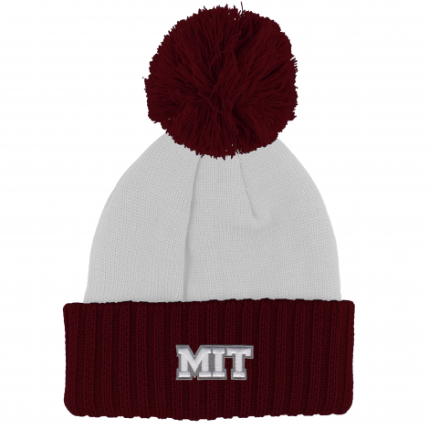MIT White Beanie with Maroon Cuff and Pom